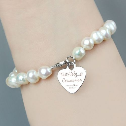 Personalised First Holy Communion Swirls & Hearts Bracelet